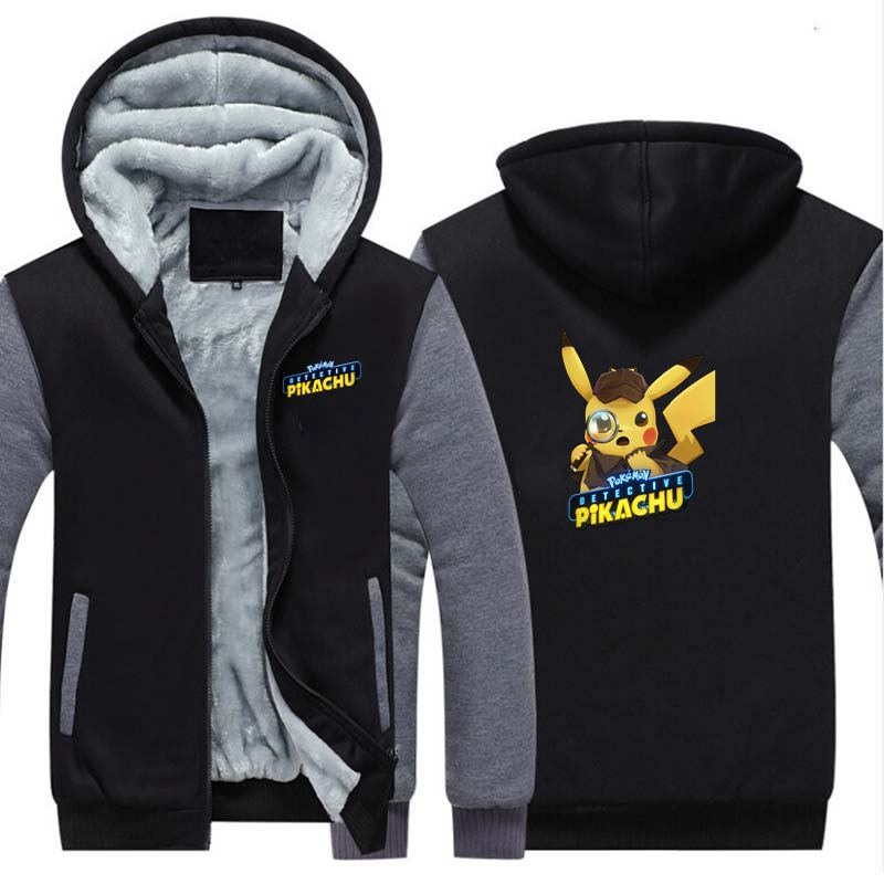 New Pokémon Detective Pikachu Thicken Hoodie Sweatshirts Cosplay Costume Anime Winter Warm Coat Hooded Men Adult Clothing