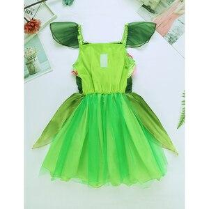 Image 4 - Карнавальный костюм зеленого эльфа для девочек платье пачка с цветами и крыльями для девочек Детские вечерние реквизит для карнавала на Хэллоуин