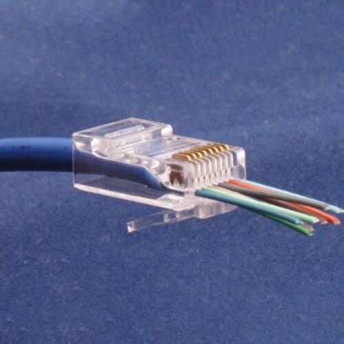 50 sztuk CAT6 wtyczka EZ RJ45 kabel sieciowy modułowe przejście przez wtyczki złącza 8P8C bardzo elastyczny z klipsem