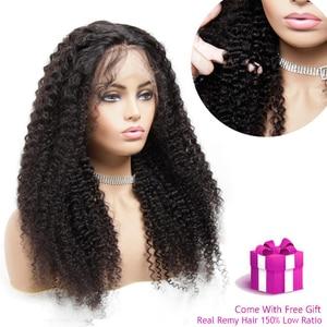 Image 1 - 13x4 תחרה מול פאה מראש קטף רמי מתולתל M ברזילאי שיער אמיתי עלית שיער טבעי לנשים שחורות פרונטאלית קוקו נשים של פאה