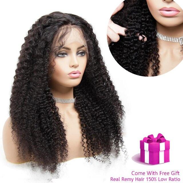 13x4 תחרה מול פאה מראש קטף רמי מתולתל M ברזילאי שיער אמיתי עלית שיער טבעי לנשים שחורות פרונטאלית קוקו נשים של פאה