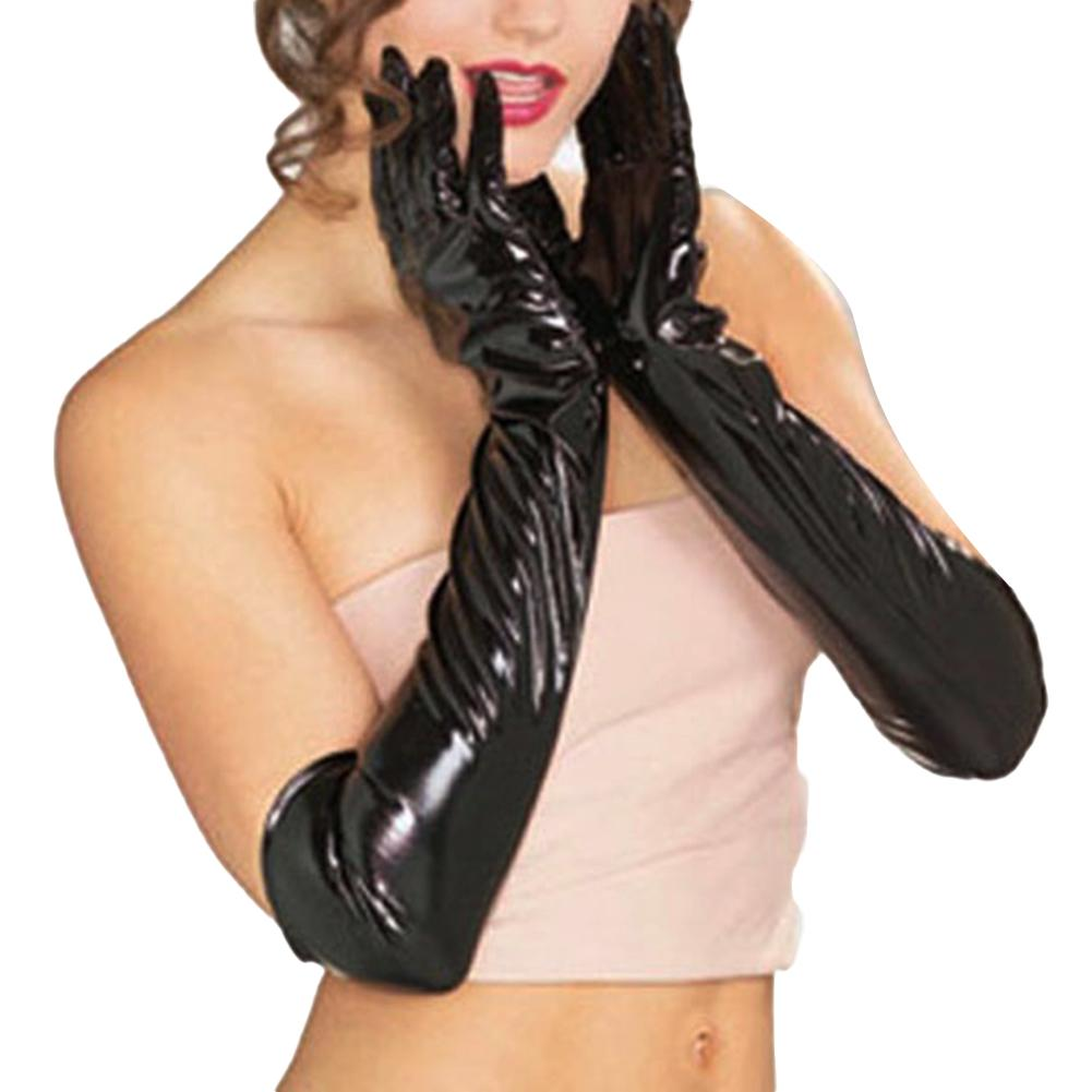 Gloves Gothic Women Wet Look Faux Leather Gloves Evening Party Dress Cosplay Costume Ladies Ball Bride Black Sex Gloves