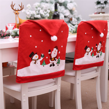 New Year 2021 Santa Claus Hat Chair Cover 2020 Christmas Decorations for Home Table Christmas Ornaments  Navidad Noel Xmas Gifts 2021 new year gift santa claus wine bottle dust cover xmas noel christmas decorations for home navidad 2020 dinner table decor