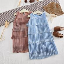Kid Girl Tulle Princess Dress Pleated Multi-layer Solid Color Sleeveless Summer Sundress for 3-8 Years Girl Casual Dress fashionable round collar sleeveless pleated solid color dress for women
