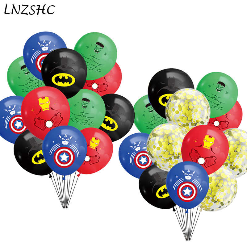 12Pcs Super Pahlawan Tema Balon 12Inch Lateks Balon Dekorasi Pesta Ulang Tahun Bayi Shower