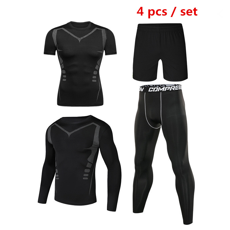 4pcs / Set Men's Tracksuit Sport Suit Gym Fitness Compression Clothing Running Jogging Sport Wear Exercise Workout Tights