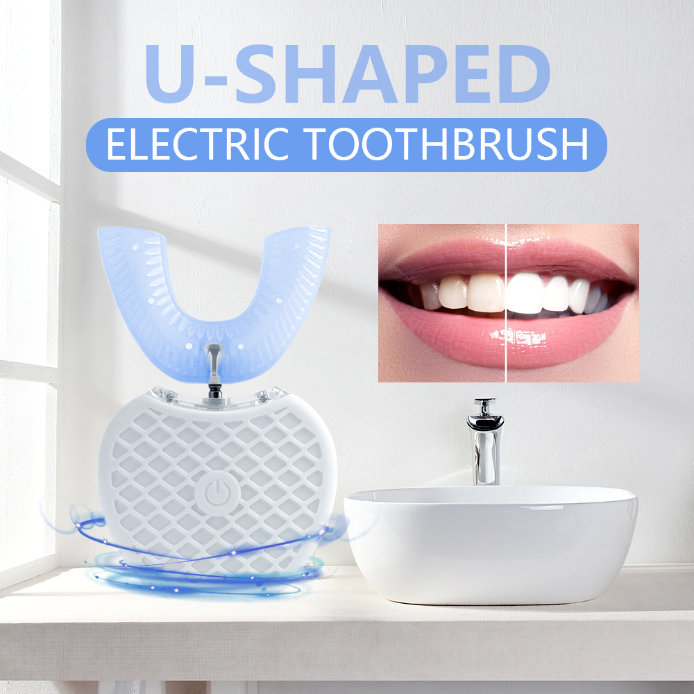 360 Degrees Intelligent Automatic Sonic Electric Toothbrush U Type Tooth Brush USB Charging Tooth Teeth Whitening Blue Light image