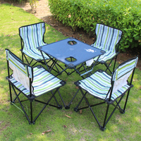 Ultra Light Outdoor Beach Portable Folding Tables and Chairs Set BBQ Traveling by Car Camping Table Four Chair Leisure Suit