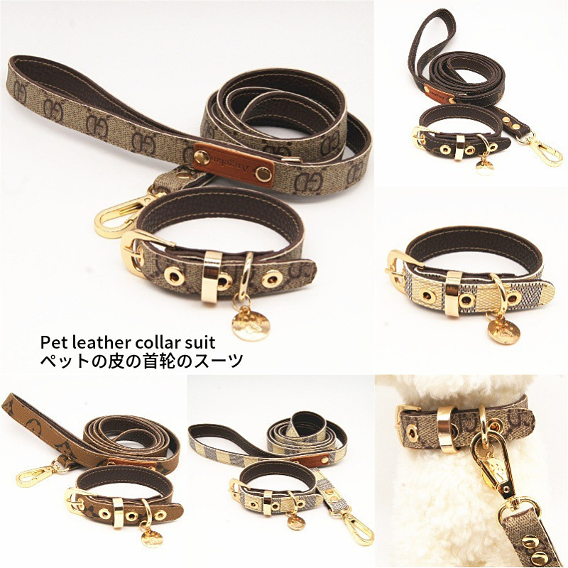 Lao Hua Kuan Classic Pet Collar Leather Haulage Rope Package Dog Useful Product Pet Supplies