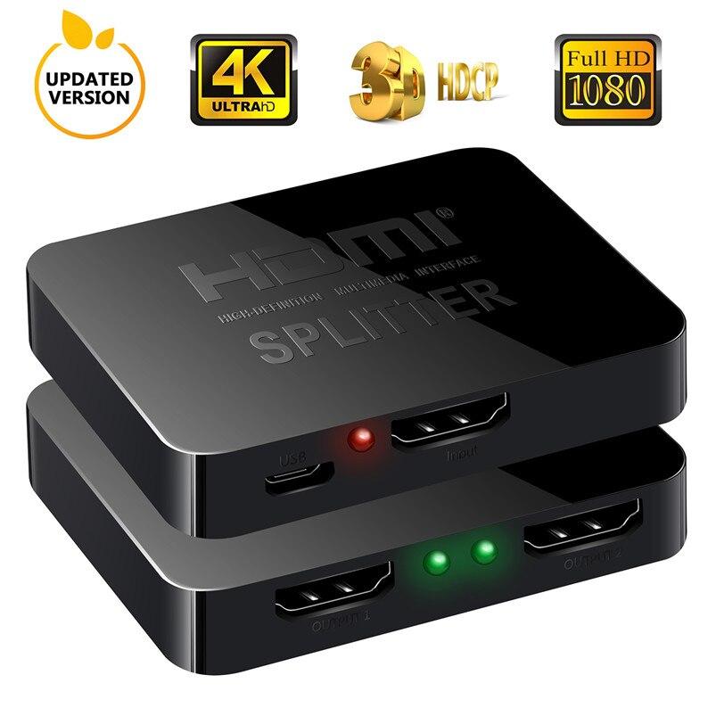 HDMI-разветвитель Robotsky, 1 вход, 2 выхода, HDMI-разветвитель с поддержкой 4KX2K 3D 2160p1080p для XBOX360 PS3/4/5