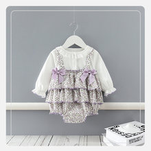 Spring and Autumn Purple Long Sleeve Bowknot Floral 0-24M Baby Girls Triangle Romper Dress Infants Comfortable Outing Bodysuits