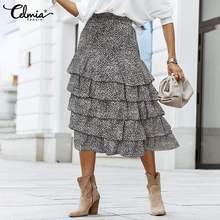 Midi Skirt Layering Ruffles Printed High-Waist Fashion Bohemian Celmia Cake Dot Loose