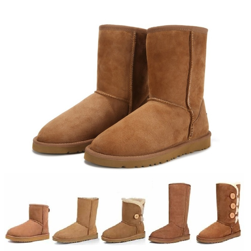 Classic Boots Bottes Snow-Shoes Sheepskin Australia Winter Femmes Brand Girls Wool Mujer title=