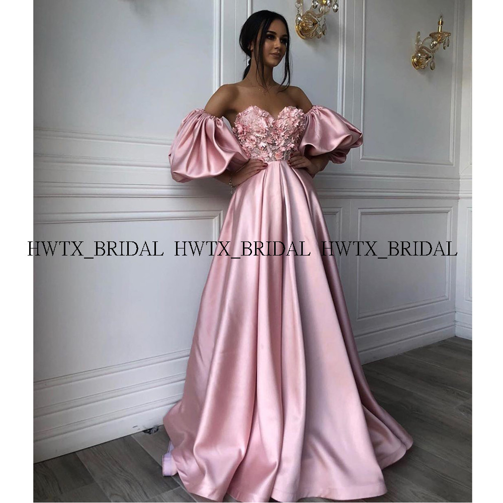 Saudi Arabia Pink Long Evening Dress With Sleeves Plus Size A-Line 3D-Floral Appliques Satin Dubai 2020 Prom Dresses Formal Gown