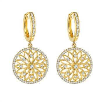 14K Gold Real Diamond Earring Round Hollow Wedding pure Gemstone for Women Peridot Bizuteria Drop Earring Jewelry Orecchini