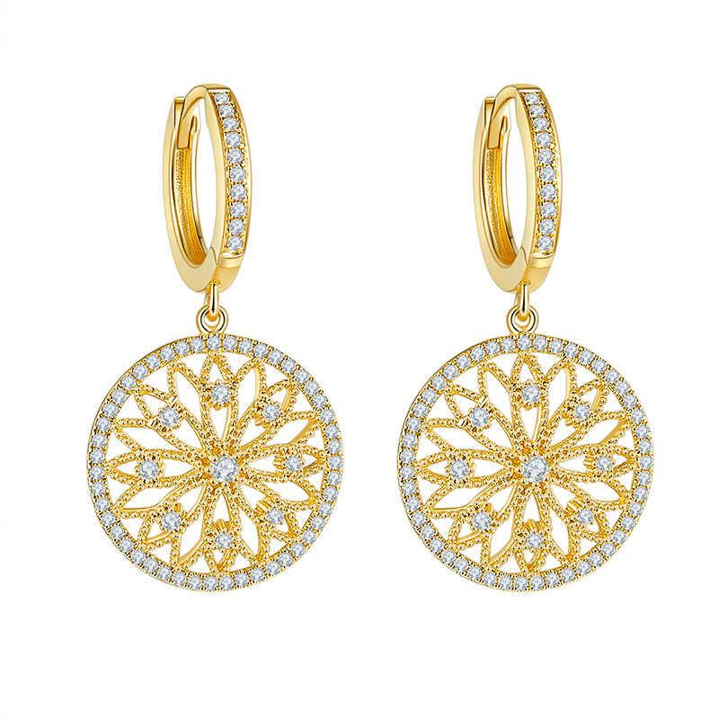 14K złota prawdziwe diamentowe kolczyki okrągłe Hollow ślub kamień dla kobiet Peridot Bizuteria Grrnet spadek kolczyk biżuteria Orecchini