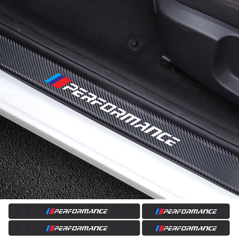 4PCS Car Carbon Fiber Door Threshold Protector Stickers For BMW E46 E39 E90 E60 E36 X1 X3 X4 X5 X6 1 3 5 Series Accessories
