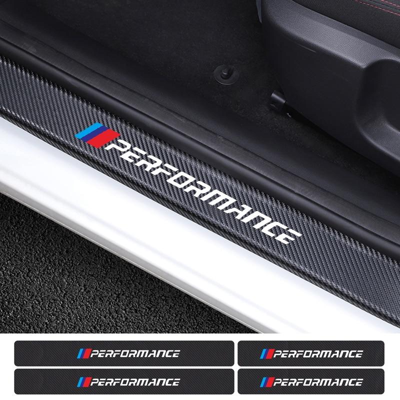 4PCS Car Carbon Fiber Door Threshold Protector Stickers For BMW E46 E39 E90 E60 E36 X1 X3 X4 X5 X6 1 3 5 Series Accessories