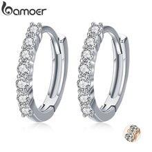BAMOER 925 пробы серебряные ослепительные CZ Кристальные круглые серьги-кольца для женщин ювелирные изделия из стерлингового серебра SCE351-1H