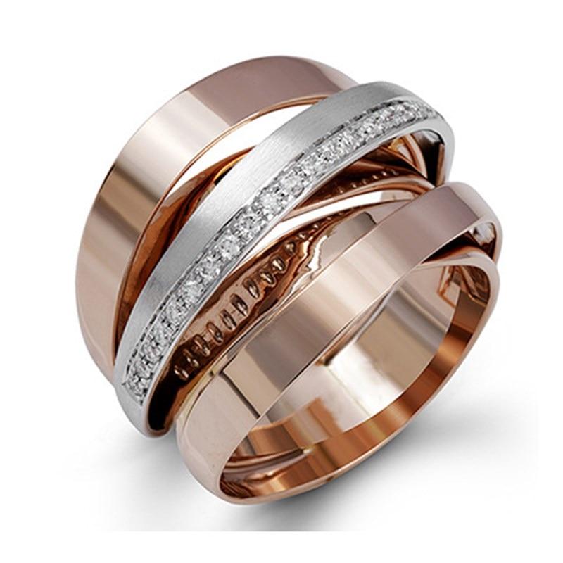 Multi-layer Rhinestone Winding Plated Rose Gold Rings Women Fashion Engagement Ring Female Wedding Party Gift