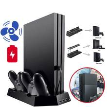 Voor Ps4 Pro Verticale Stand + 2 Controller Charger Charging Station Dock + Cooler Cooling Fan + 3 Hub Himiss play Station 4 Pro(China)