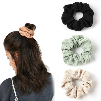 Solid Colors Women Warm Corduroy Big Hair Scrunchies Solid Soft Vintage Hair Gums Striped Fabric Rubber Bands For Hair Bun image