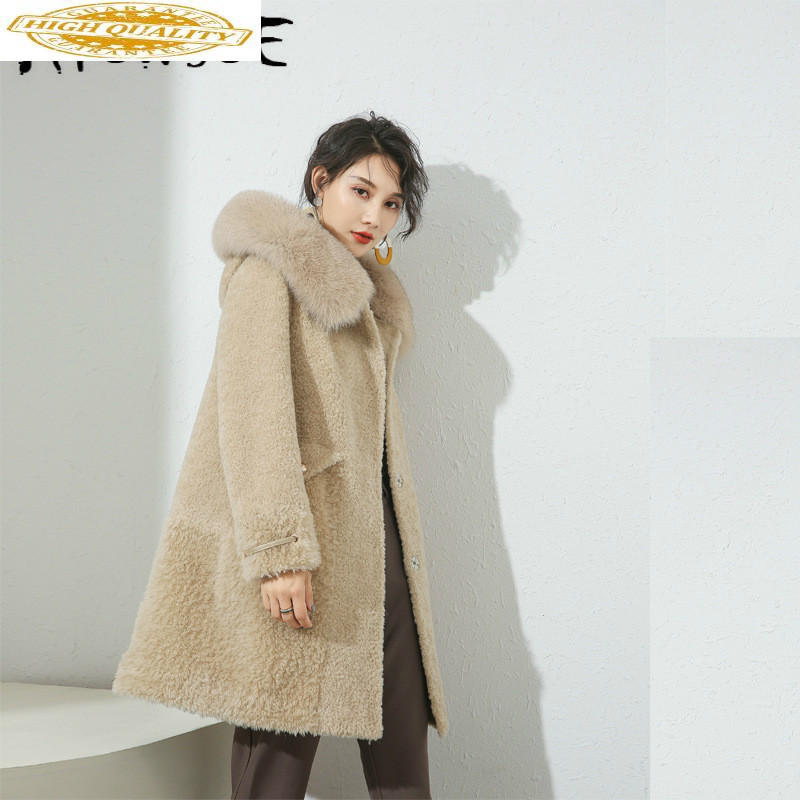 Sheep Shearing Real Fur Coat 100% Wool Jacket Women Clothes 2019 Autumn Winter Coat Women Korean Fashion Fur Tops 19010 YY2094
