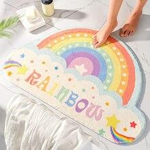 Semicircular tapetes arco-íris tapete porta de entrada tapetes sala de estar banheiro cozinha tapete criança menina quarto decoração