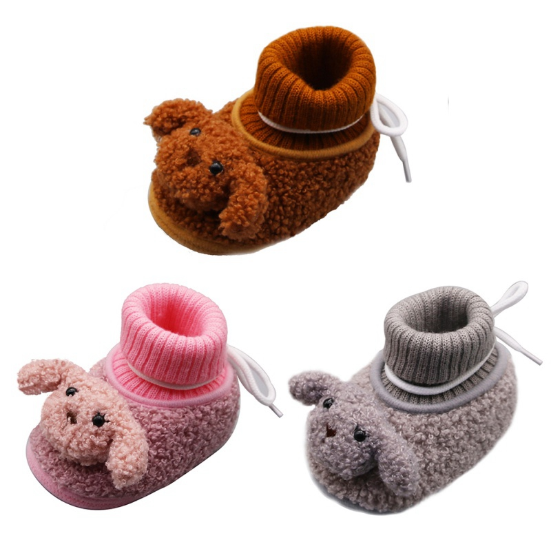 Baby Winter Warm Shoes New Autumn Cartoon Bear Knitting Boots Casual Non-slip Soft Soled Walking Shoe For 0-18M