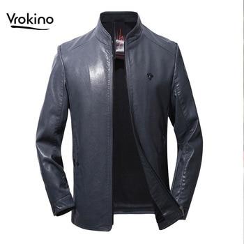 VROKINO Brand Men's Fashion Motorcycle Jacket Casual Stand Collar Men's Black Blue PU Long Sleeve Coat Large Size M-4XL