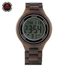 цены REDFIRE Business Fashion Wooden Men Watches Calendar Display Digital Full Wood Watch Touch Screen Dial Quartz Men's Wristwatches