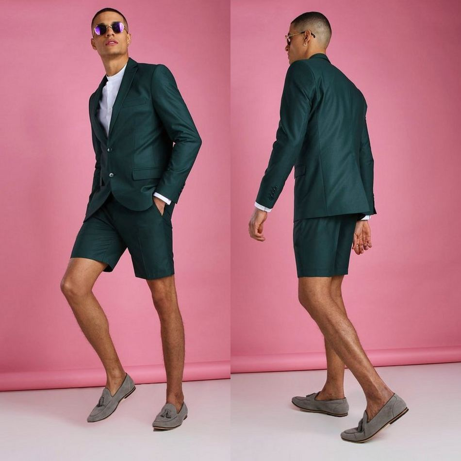 Summer Dark Green Wedding Tuxedos Summer Beach Short Two Button Groom Wear Formal Dinner Prom Party Blazer Suits(Jacket+Pants)