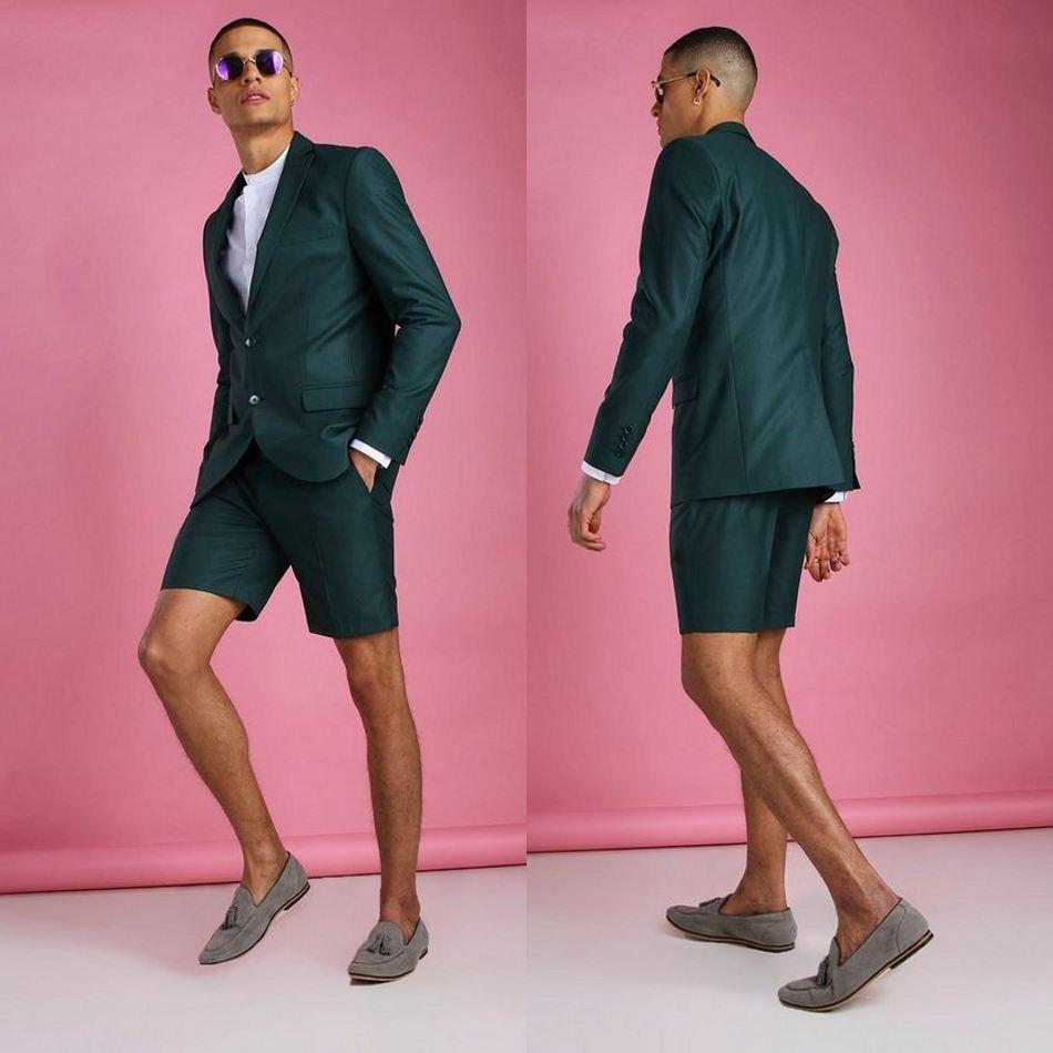 Summer Dark Green Wedding Tuxedos Summer Beach Short Two Button Groom Wear Formal Dinner Prom Party Blazer Suits(Jacket+Pants)