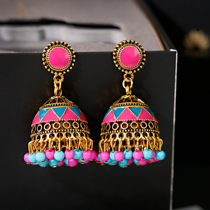 Fashion Colorful Beads Tassel Indian Jhumka Earrings For Women Ethnic Vintage Gold Alloy Bollywood Oxidized Bell Dangle Earrings