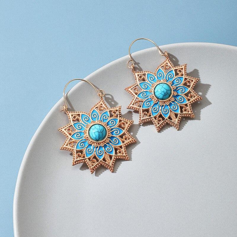 Gypsy Jóias Étnicas Flor Cor de Ouro Brincos Pendurados Do Vintage Contas de Pedra Azul Gotejamento de Óleo Brincos Senhoras