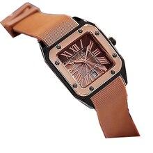 GUOU relojes Rectangula de cuarzo para mujer, de cuero, de lujo, Esfera Grande