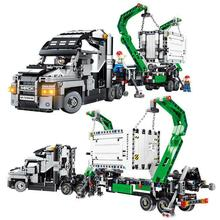 1202PCS Container Truck Vehicles Car Building Blocks Compatible Technic Car DIY Bricks Educational Toys for Children цена
