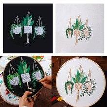 NAIYUE 1 Set Embroidery Starter Kit with Plant Pattern DIY Cross Stitch Kit 12x12in electronic cigarette vape kit rui starter self fill pod kit 450mah built in battery 1 8ml pod system kit vs minifit q16 pro