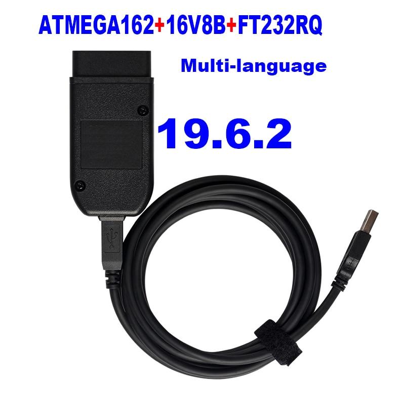 (Installation Easily) Auto COM 19.6.2 Hex Diagnostic V2 USB Interface FOR VW AUDI Skoda Seat 19.6 English ATMEGA162+16V8+FT232RQ