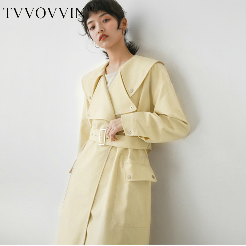 TVVOVVIN Leisure Wide Waisted Turn Down Collar Open Stitch Women Loose Multi Size Solid   Trench   Coat 2019 Autumn Winter New L766