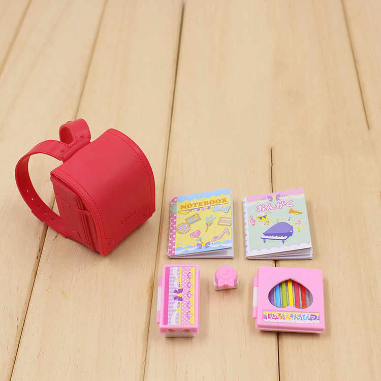 Doll Backpack and Books 6pcs Original doll accessories for licca Dollhouse School Supplies Best Gift Toy for Girl