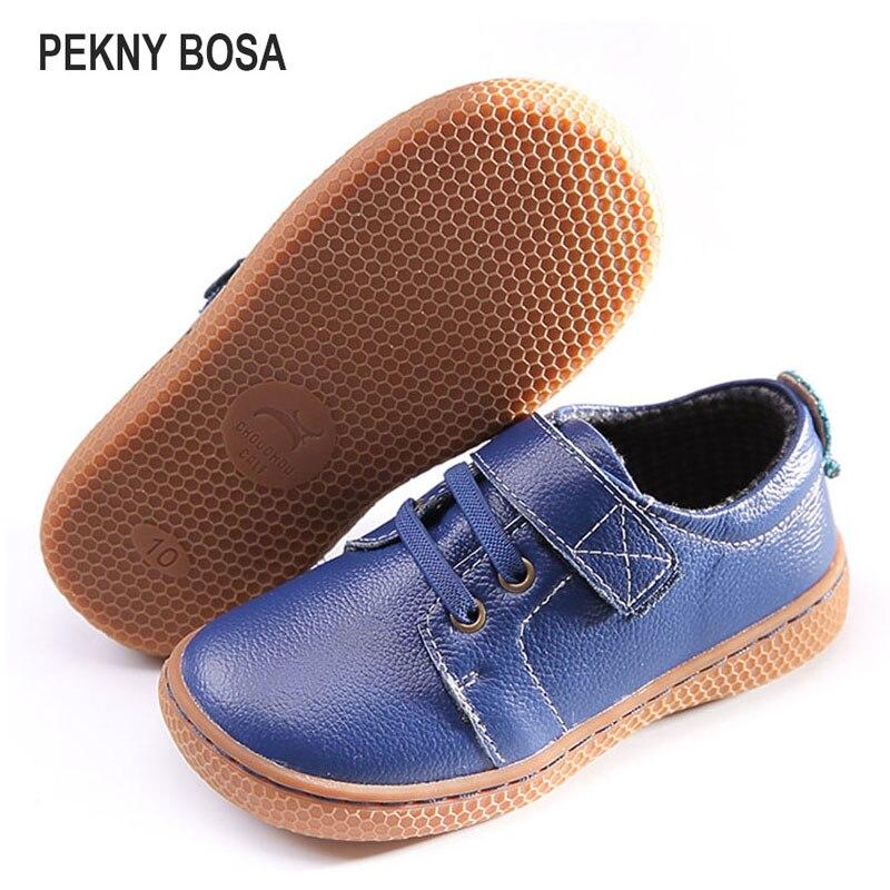 PEKNY בוסה מותג ילדי עור נעלי ילדים יחפים נעליים רך sole בני עור אמיתי נעלי בנות סניקרס חום כחול צבע