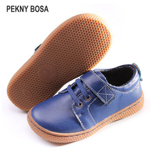 PEKNY BOSA Brand kids leather shoes Children barefoot
