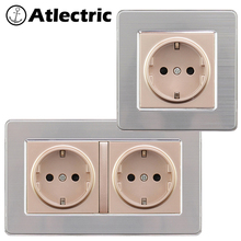 Atlectric EU/DE/RU Standard Plug Socket Power Stainless Steel Panel Grounding Socket 146mm*86mm Double Plug Electrical Outlet