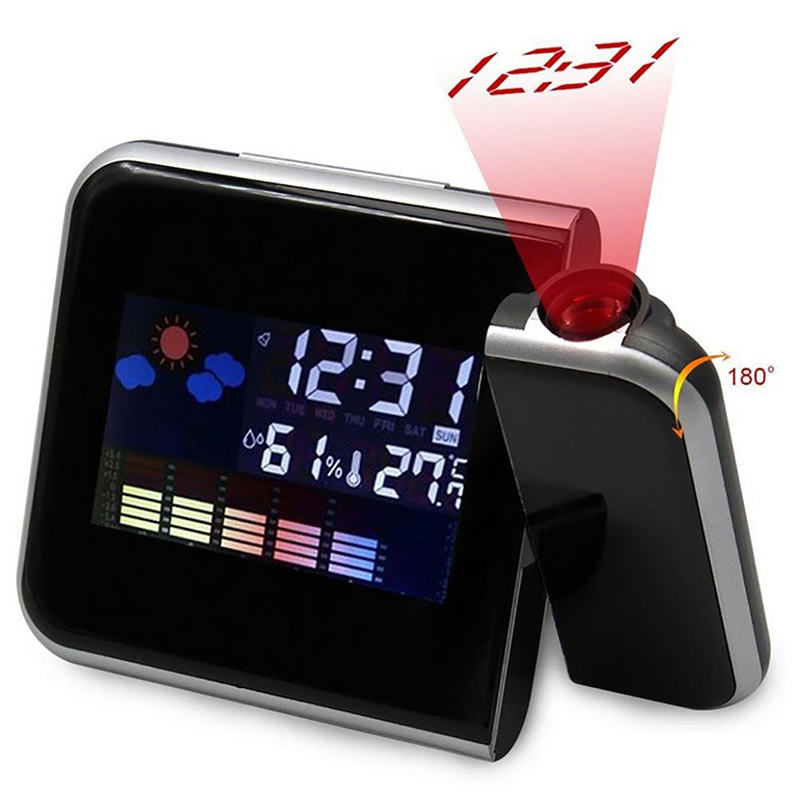Digital Alarm Clock Wall Projection Weather LCD Screen Snooze Alarm Dual Laser Rotatable Clock Color Display Desk Watch
