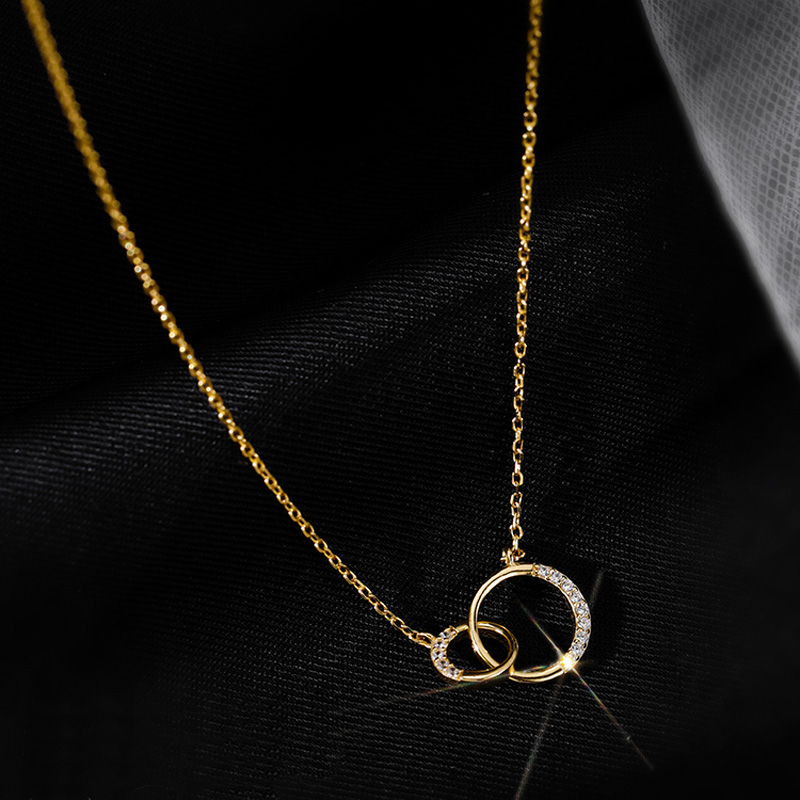 Trendy 925 Sterling Silver Round Double Circle CZ Zirconia Necklaces & Pendants For Women Party Gift Choker NK063 6