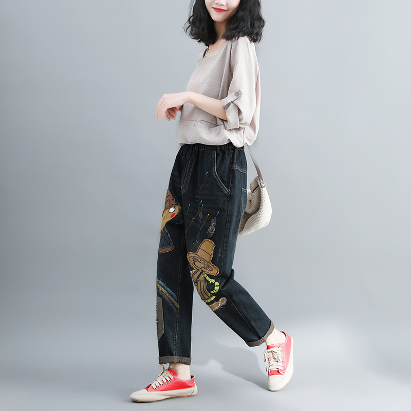 Spring New Style Retro Casual Capri Pants Elastic Waist Loose-Fit Harem Pants Women's