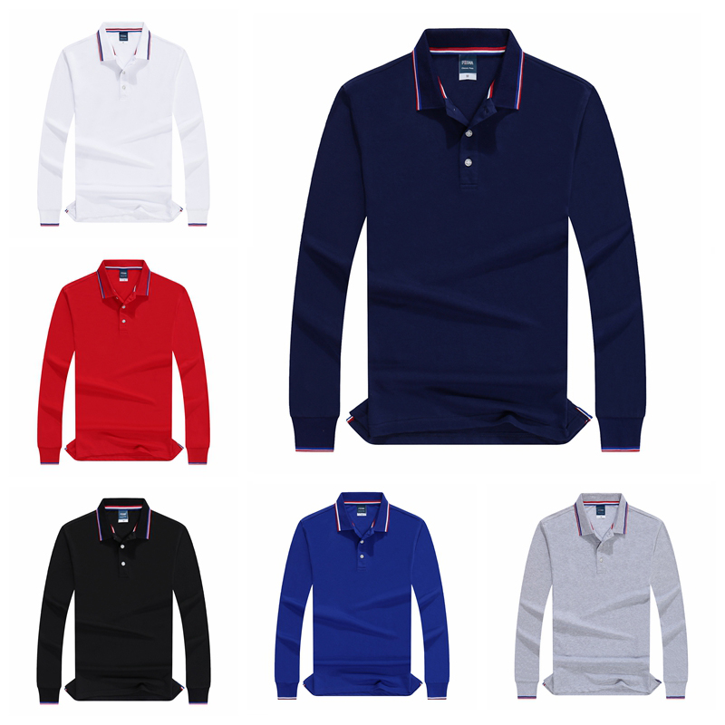 Men Autumn Polo Shirt Custom Vogue Male Long Sleeve Solid High Quality Cotton Polo Shirts Breathable Tops Tee Office Golf Tennis