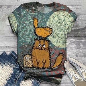 T Shirt Women Harajuku Tops Plus Size Women Short Sleeve 3D Cartoon Cat Printed O-Neck Tops Tee T-Shirt Camisetas Mujer футболка