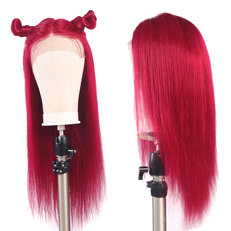 13x4 Lace Frontal Wigs 99J/Burgundy Pre Plucked Brazilian Straight Lace Front Human Hair Wigs For African American Women Remy